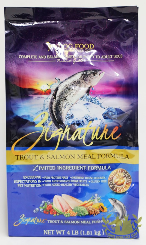 Zignature Trout And Salmon Meal Canine Formulalong Dog Fat Cat